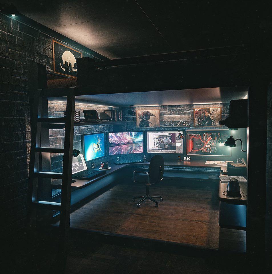 Pin By Ken Stice On Kamer Game Room Design Video Game Rooms Room Setup