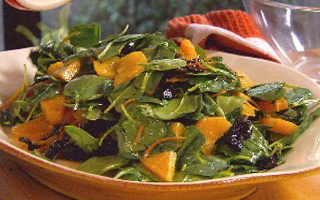 Sliced orange salad with olives and ricotta salata