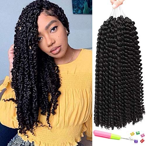 New 7 Pacs 14 Inch Passion Twist Hair Water Wave Braiding Hair Ombre Long Bohemian Braids  Passion Twist Crochet Hair Hot Water Setting Synthetic Natural Braid Hair (14 Inch, 1B) ? online shopping - Nicetopideas #passiontwistshairstylelong