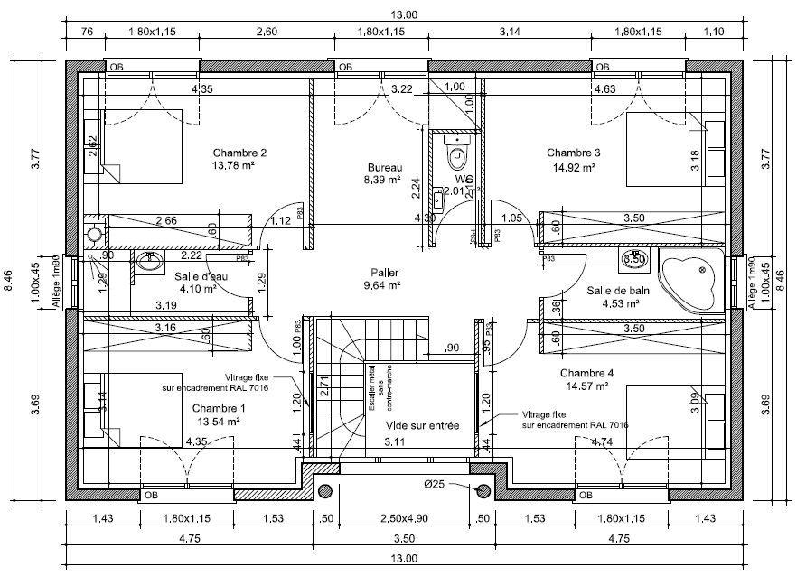 Plan du 1er étage Plan maison Pinterest