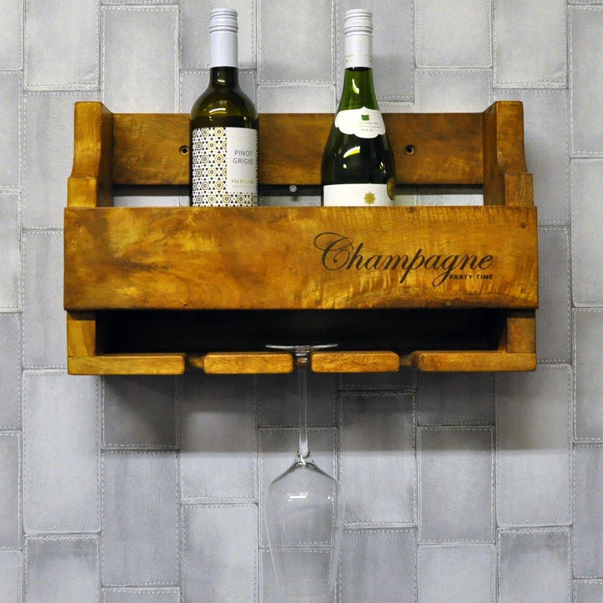 Rustic farmhouse wooden 4 bottle champagne wine rack