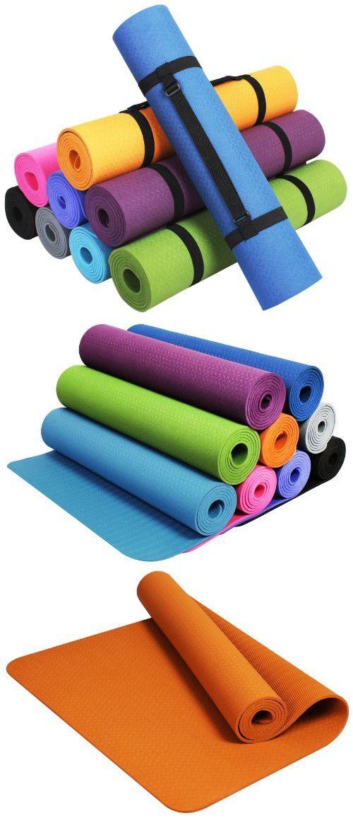 Balancefrom Goyoga Premium 1 4 Inch Slip Resistant And Waterproof Yoga Mat With Carrying Strap Orange Yoga Mat Yoga Store Slip