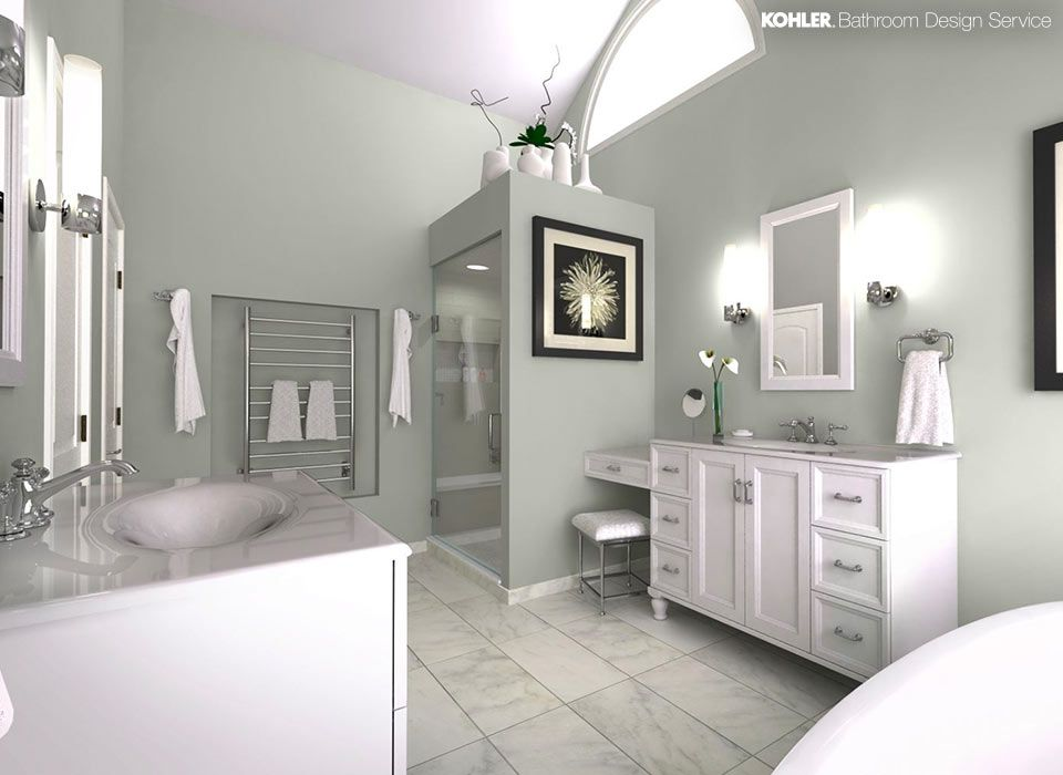 light sage green walls vanity with single sink and mirror