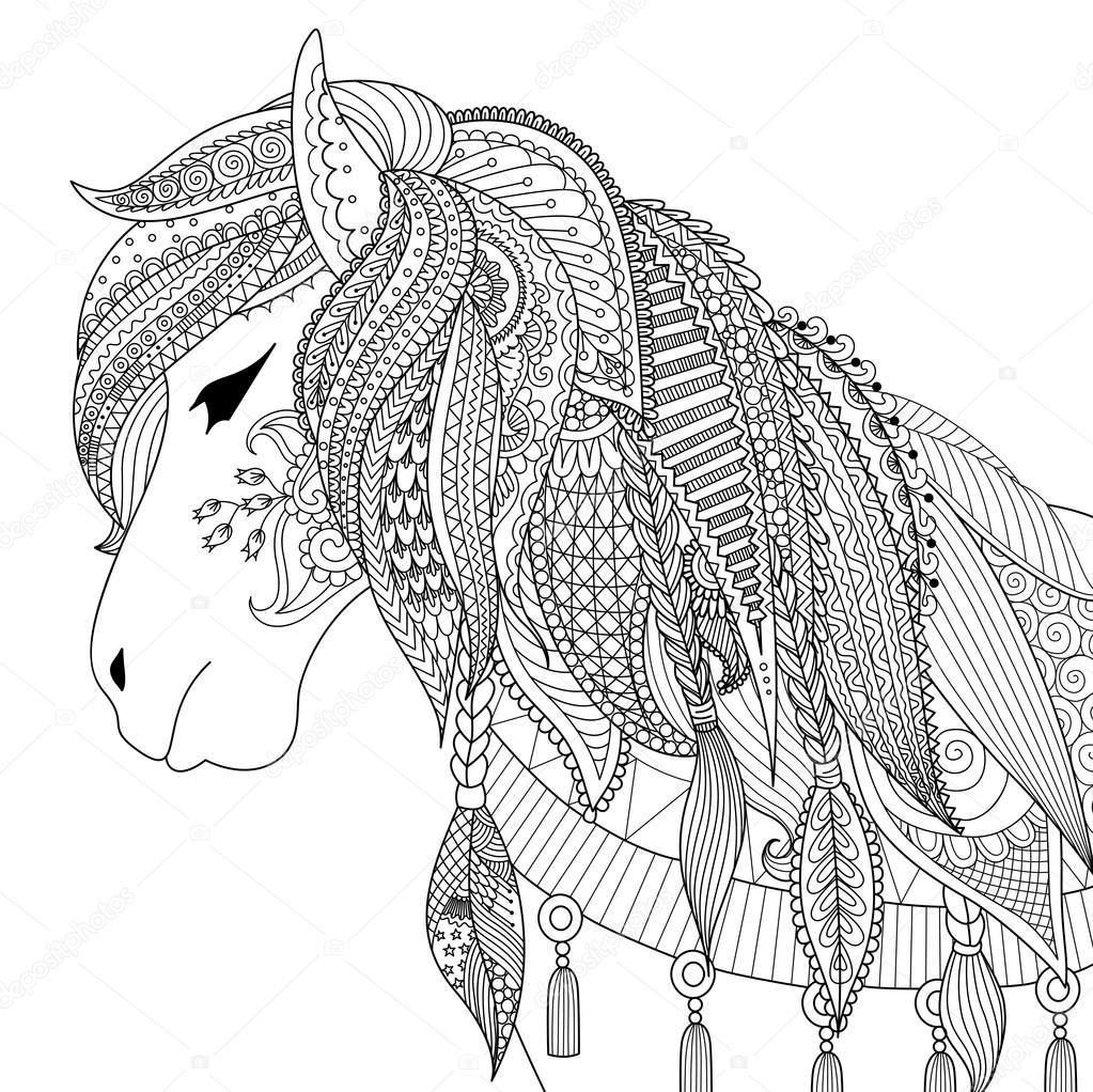 Descargar - Diseño de Zendoodle de caballo para adultos para ...