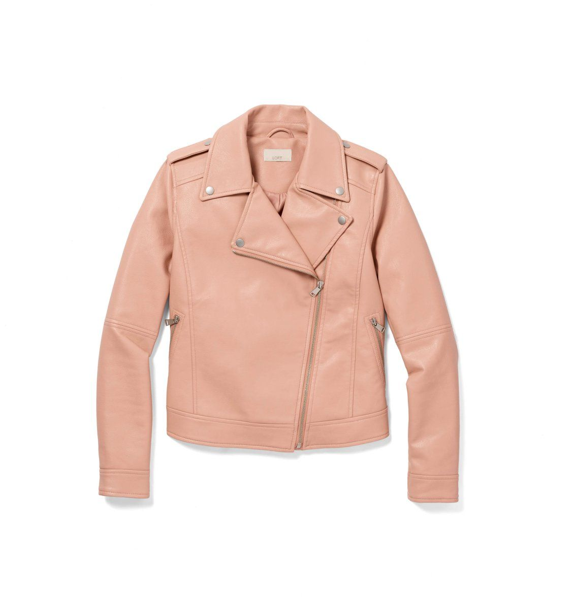 The Moto Jacket Gets Pretty In Pink Faux Leather Motorcycle Jacket Winter Fashion Style Inspiration Winter
