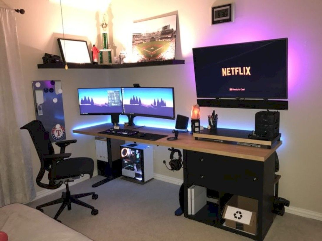 50 Unique Home Office Desk Ideas For Small Spaces Computer Gaming Room Game Room Design Video Game Rooms