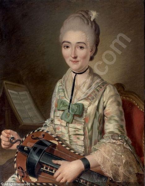 Portrait de jeune femme jouant de la vielle sold by Aguttes, Paris, on Friday, November 25, 2011