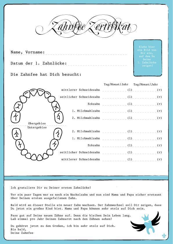Zahnfee Zertifikat | Zahnfee | Pinterest | Zahnfee, Zertifikat und ...