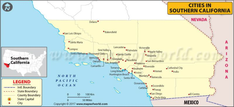 Map Of Southern California Cities on