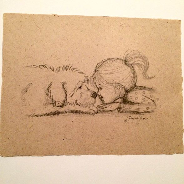 Little girl and her dog nose to nose pencil sketch by phyllisharrisdesigns on etsy