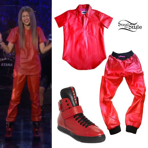 Zendaya Red Leather Polo Shirt \u0026 Pants