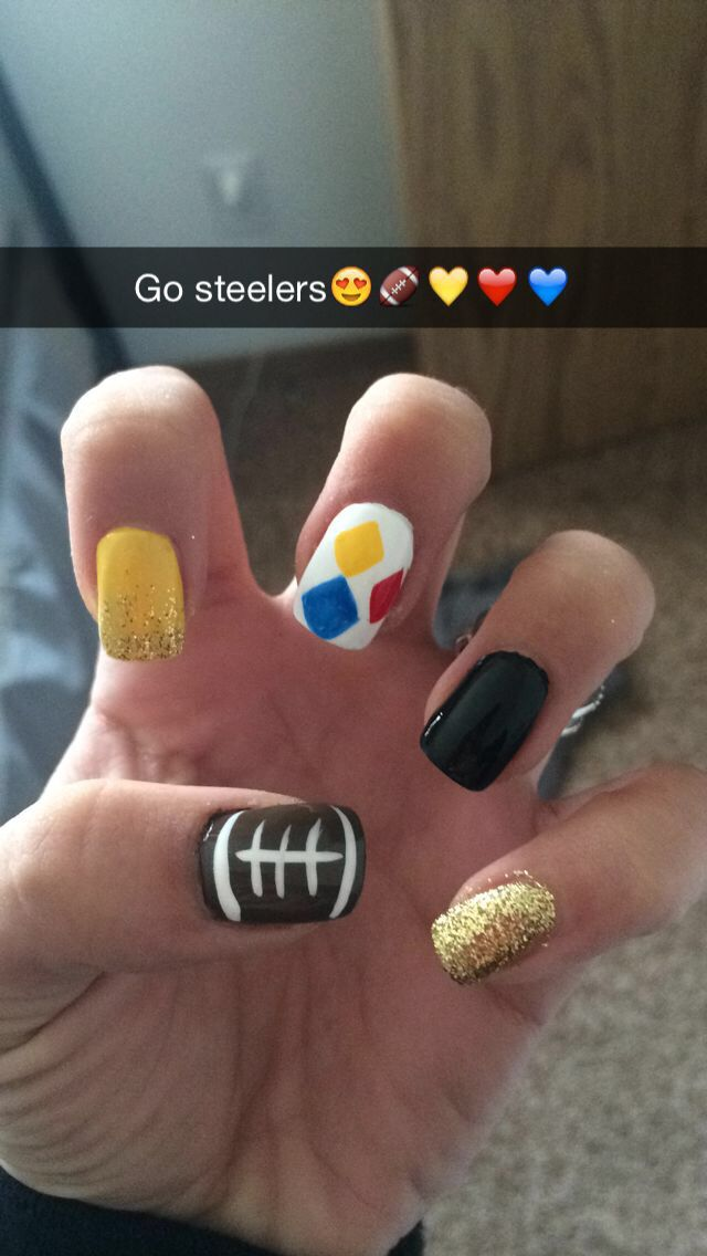 Steelers Nails Fashion Pinterest Football Nails Makeup And