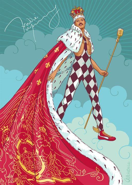 Freddie Mercury Illustration Comic Queen Band Uploaded 2010 05