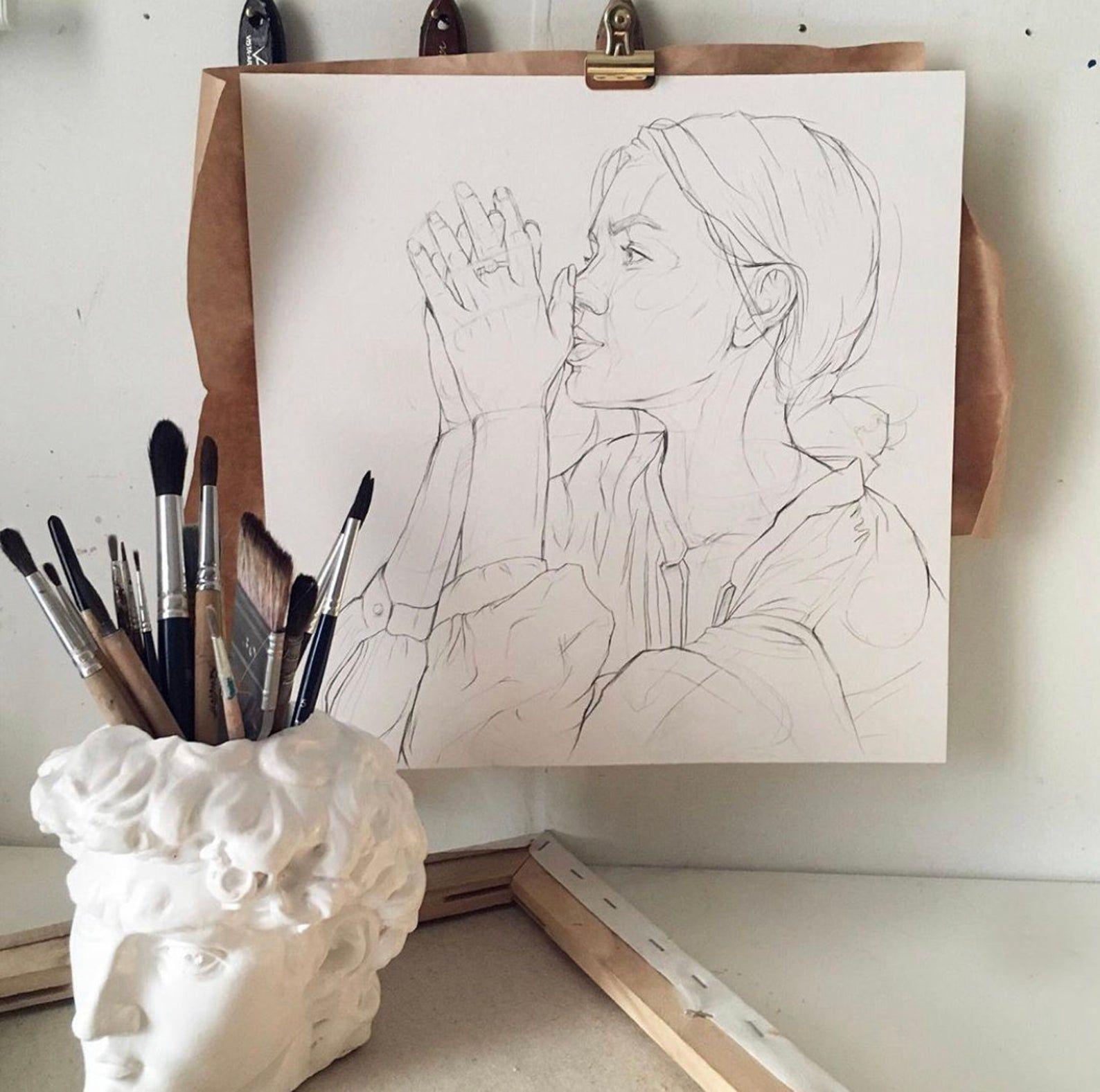 Kopf von David von Michelangelo Weißer Stift Halter