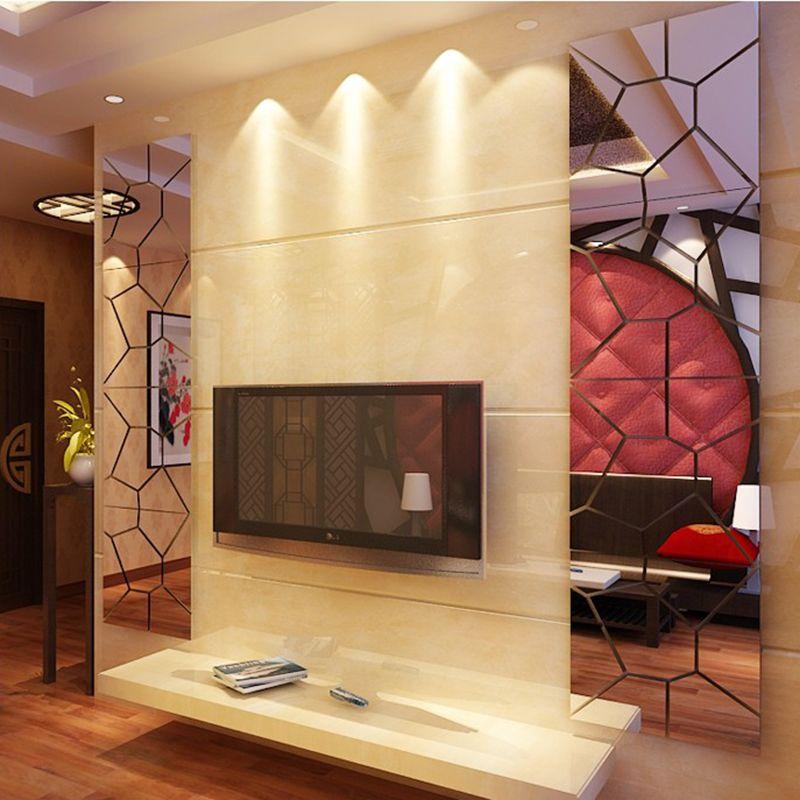 1pc Modern 3D Irregular Geometric Mirror Effect Wall Stickers Decal ...