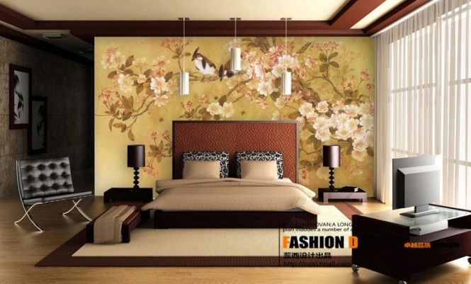 Wonderful floral wallpaper of contemporary chinese influenced bedroom design