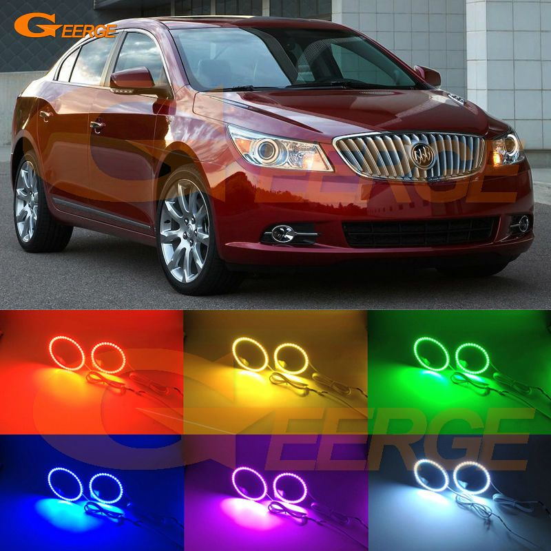 For Buick Lacrosse 2010 2011 2012 Xenon Headlight Excellent Multi Color Ultra Bright Rgb Led Angel Eyes Kit Halo Rings Buick Lacrosse Hid Headlights Car Lights