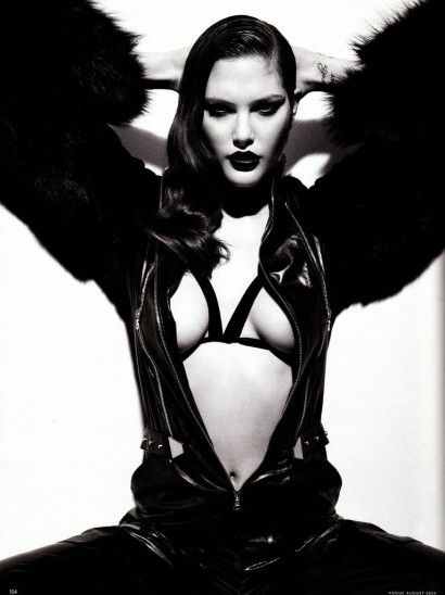 Chic leather and fringes inspiration from this Femme Fatale shoot. Model is Catherine McNeil