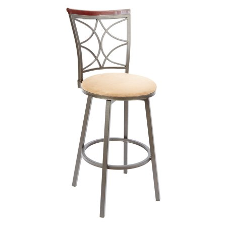 Terrific 29 Inch Decorative Back Swivel Barstool With Straight Legs Squirreltailoven Fun Painted Chair Ideas Images Squirreltailovenorg