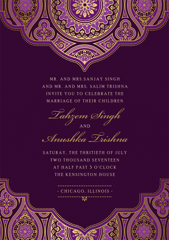 Indian Inspired Invitations In Purple Wedding Cards