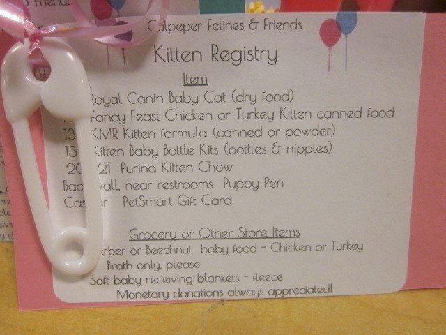 Culpeper Felines And Friends Kitten Shower At Petsmart Asking For The Donations They Need For Kitten Season They Hang Th Puppy Shower Puppy Pens Kitten Season