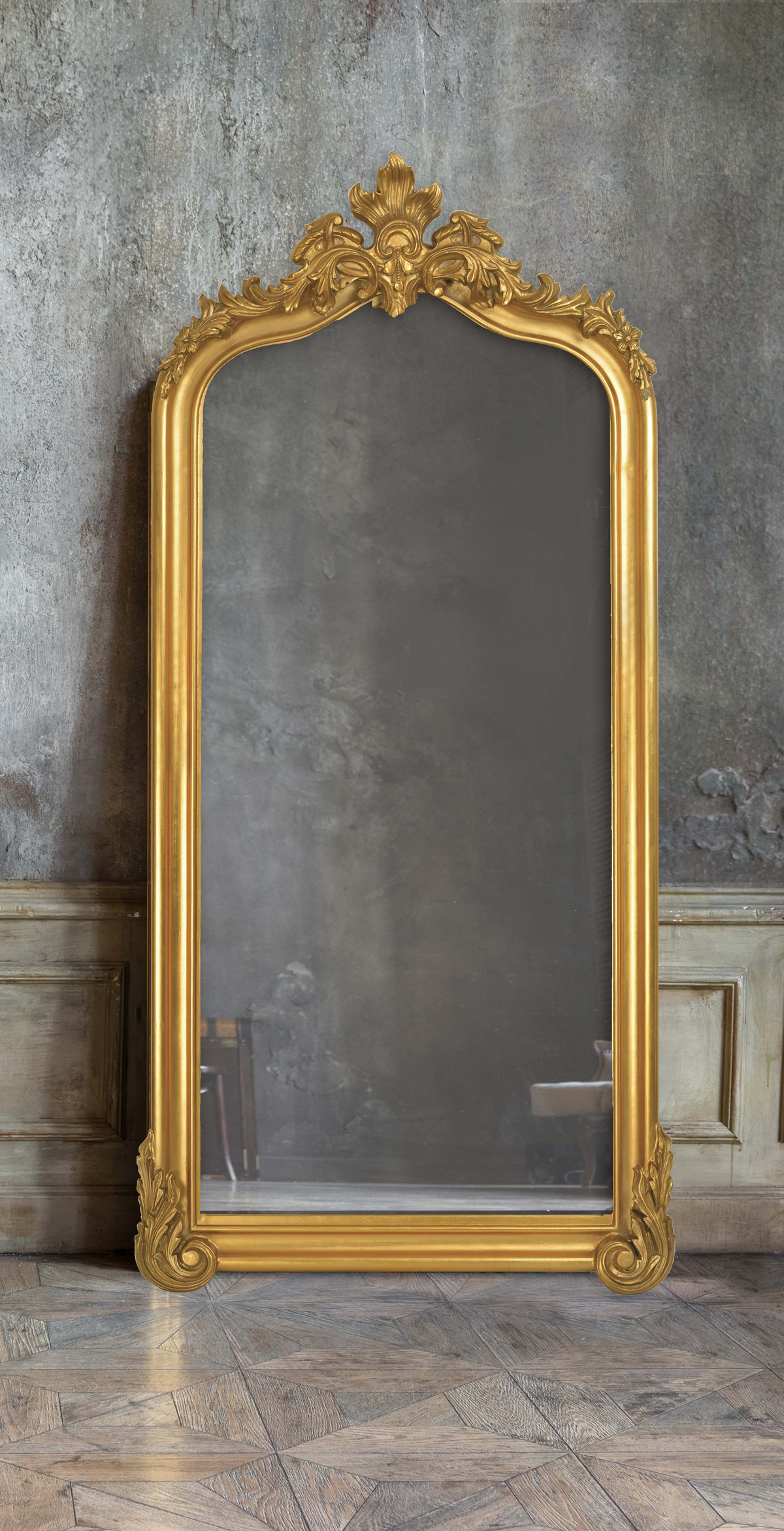 Large Gold Leaning Mirror With Intricate Detail In Regal Style Gold Mirror Living Room Gold Floor Mirror Mirror Wall Bedroom