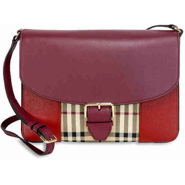 Burberry Medium Horseferry Check and Leather Crossbody Bag - Parade... ($695) ❤ liked on Polyvore featuring bags, handbags, shoulder bags, leather cross body purse, leather crossbody purses, leather shoulder bag, leather purses and burberry crossbody