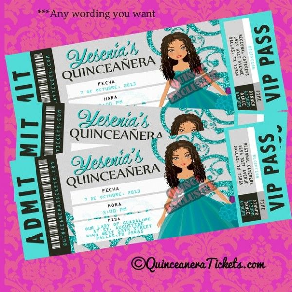 quinceanera Aqua Silver Quinceanera Invitations 15th Birthday