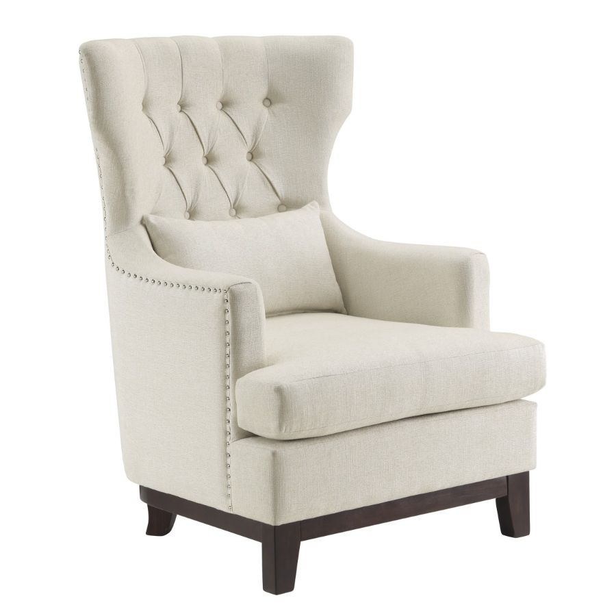Homelegance 1217f4s Adriano High Wing Back Style Beige Fabric Accent Chair Nail Head Trim Fabric Accent Chair Accent Chairs Chair