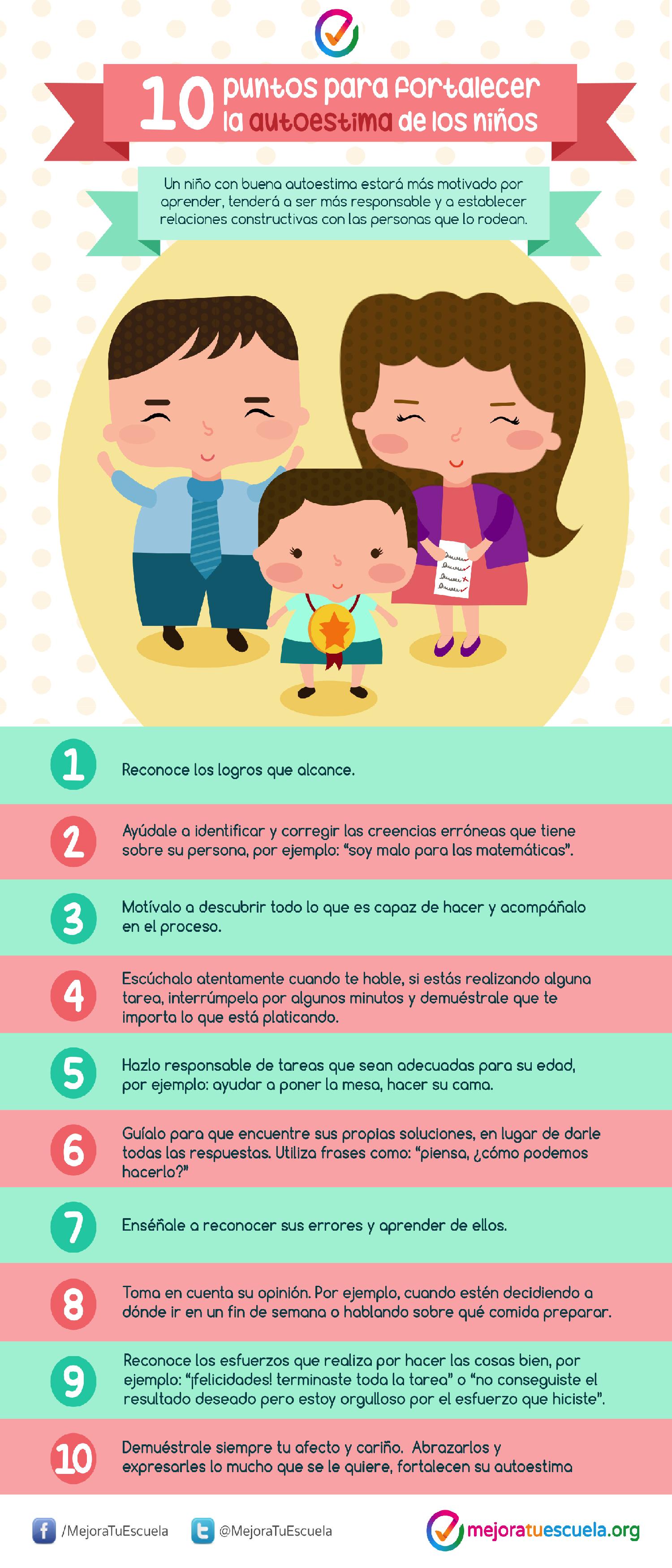 10 puntos para fortalecer al autoestima de los niños