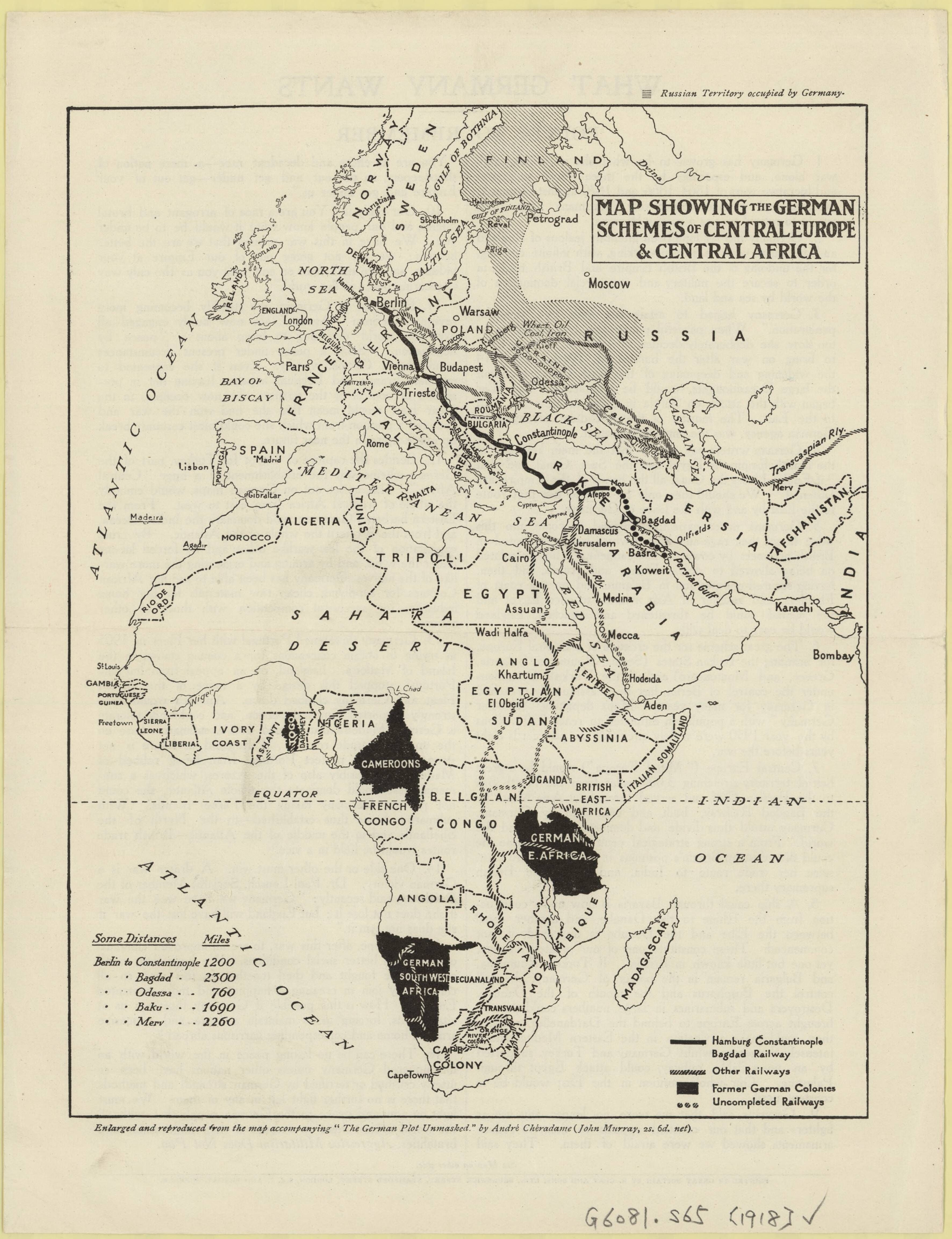 1918 Map showing the German schemes of Central Europe and Central ...