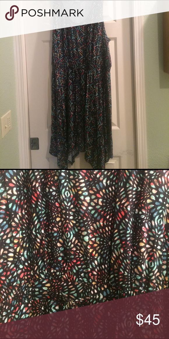 Dress Colorful asymmetrical dress. Ties at waist. Never worn American Rag Dresses Asymmetrical