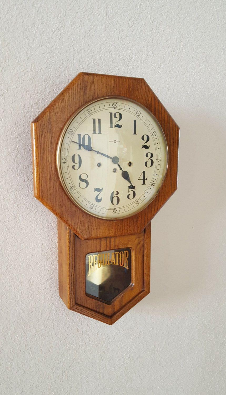 Restored Heirloom Quality Vintage Antique Howard Miller Schoolhouse Regulator Wall Clock With Westminster Chime Warran Pendulum Wall Clock Wall Clock Clock