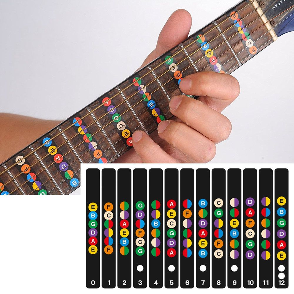 Gitarre griffbrett notizen karte etiketten aufkleber griffbrett fret abziehbilder für 6 12 string akustische guitarra