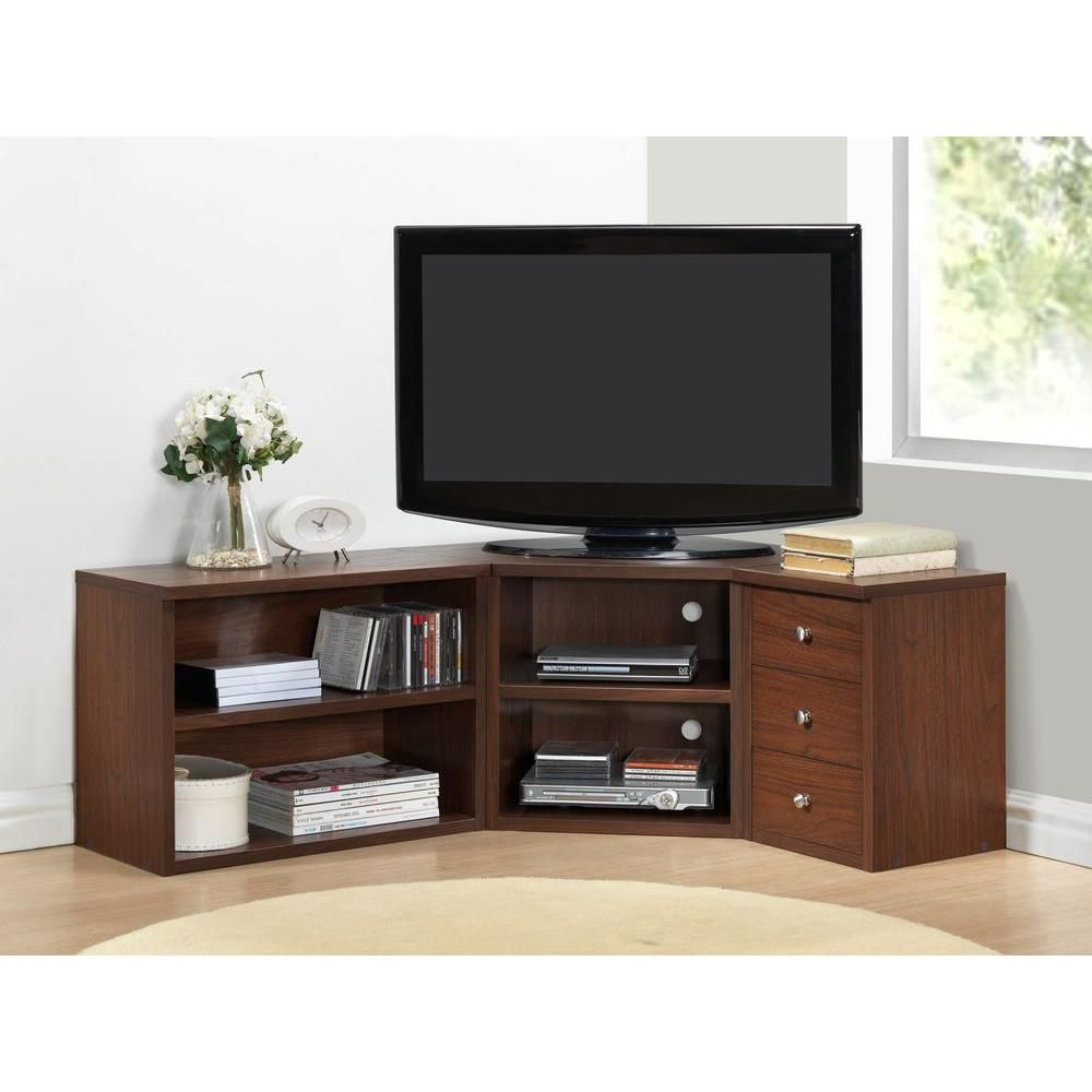 Baxton Studio Commodore 55 In Brown Wood Corner Tv Stand With 3 Drawer Fits Tvs Up To 62 In With Drawers 28862 5444 Hd The Home Depot Contemporary Tv Stands Corner Tv Stands Tv Stand Designs