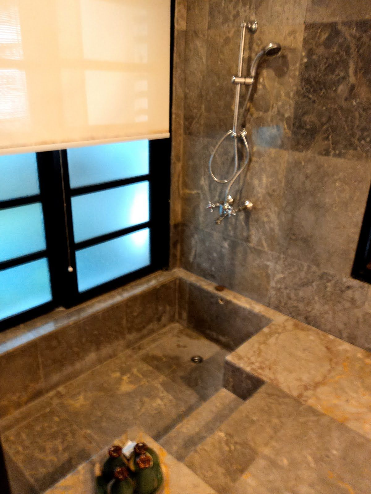 sunken bathtub/shower. I would love for this to be my bathroom ...