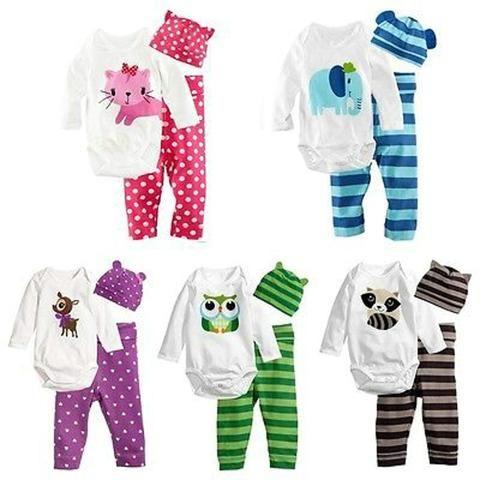 cc42b63ab 3PCS Newborn Baby Girls Boys Clothing Set Cotton Full Sleeve Romper ...