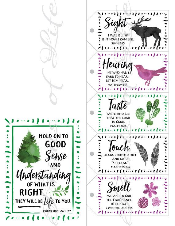 Five Senses Gift Tags & Card with Bible verses. Instant download printable. Christmas gift for him h
