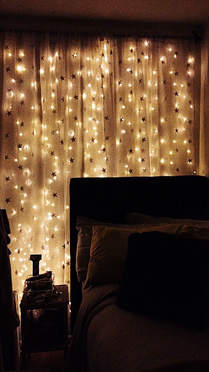 Laurynmarriott Diy Light Curtain Wall By Me With Command Hooks Everything Including Curtain Lights And Star Curtains Curtain Lights Curtains Diy Lighting