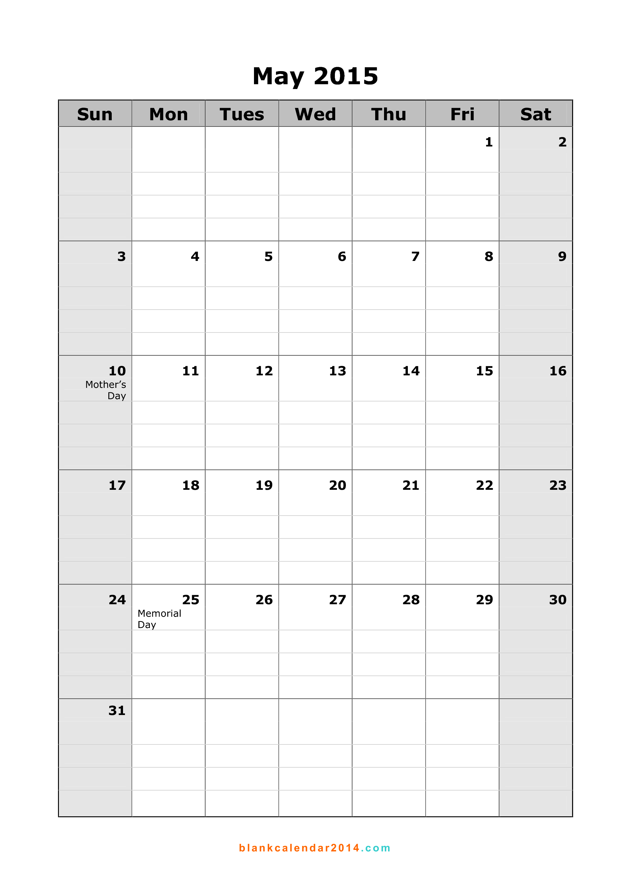printable blank monthly calendar 2015