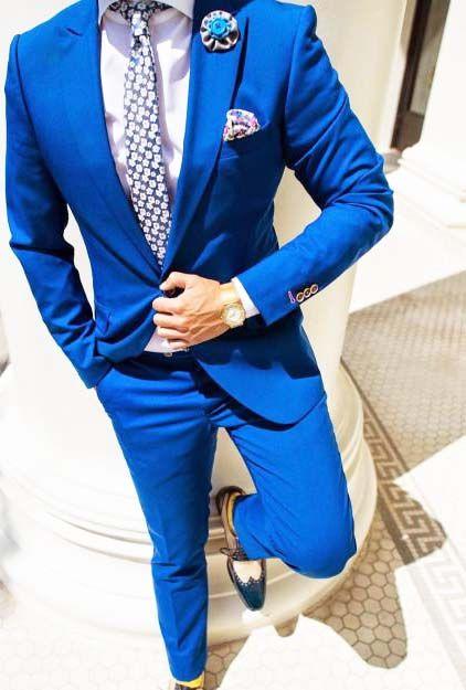 Chaqueta azul rey hombre