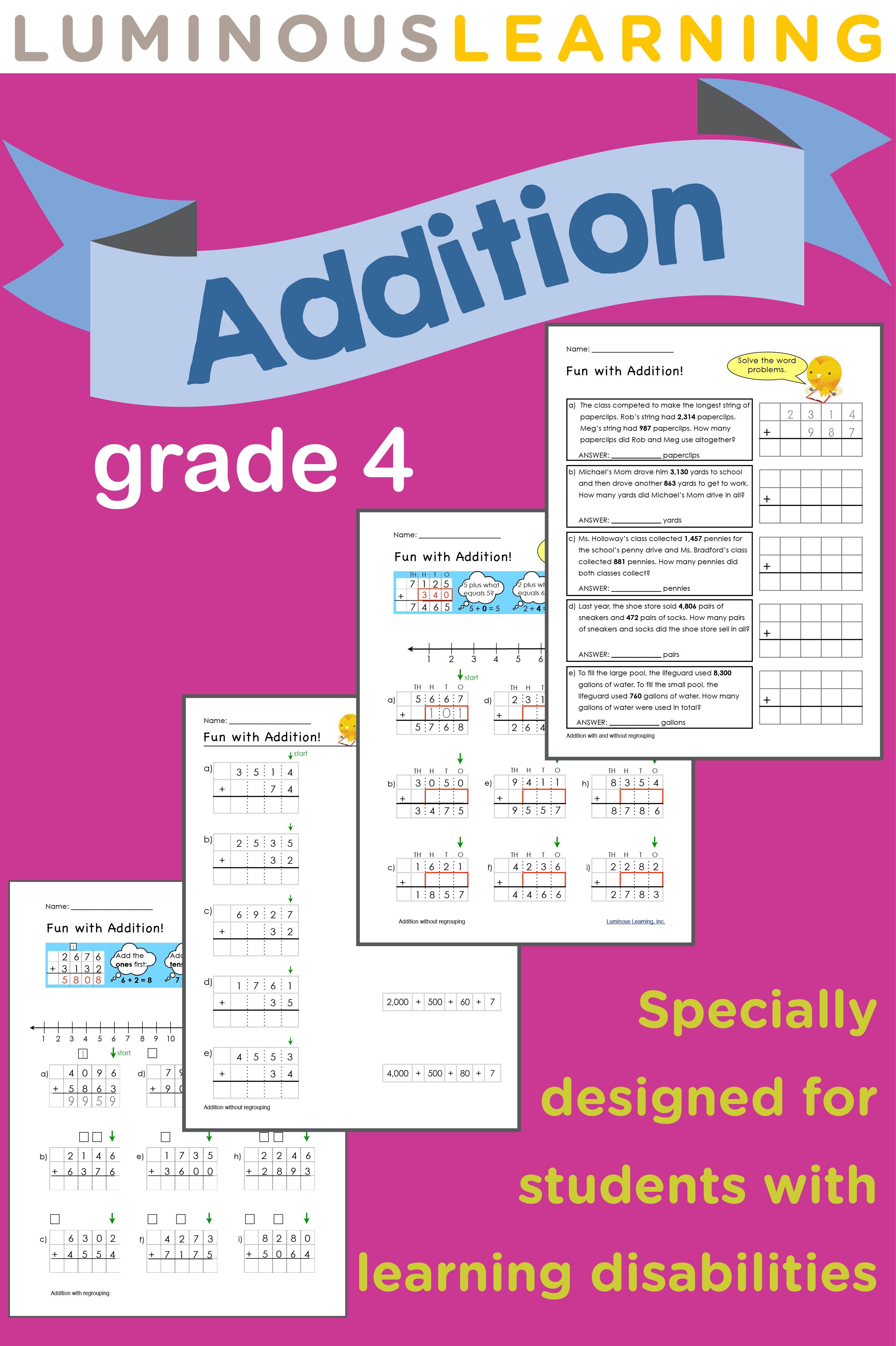 Luminous Learning Grade 4 Addition Workbook Is Designed
