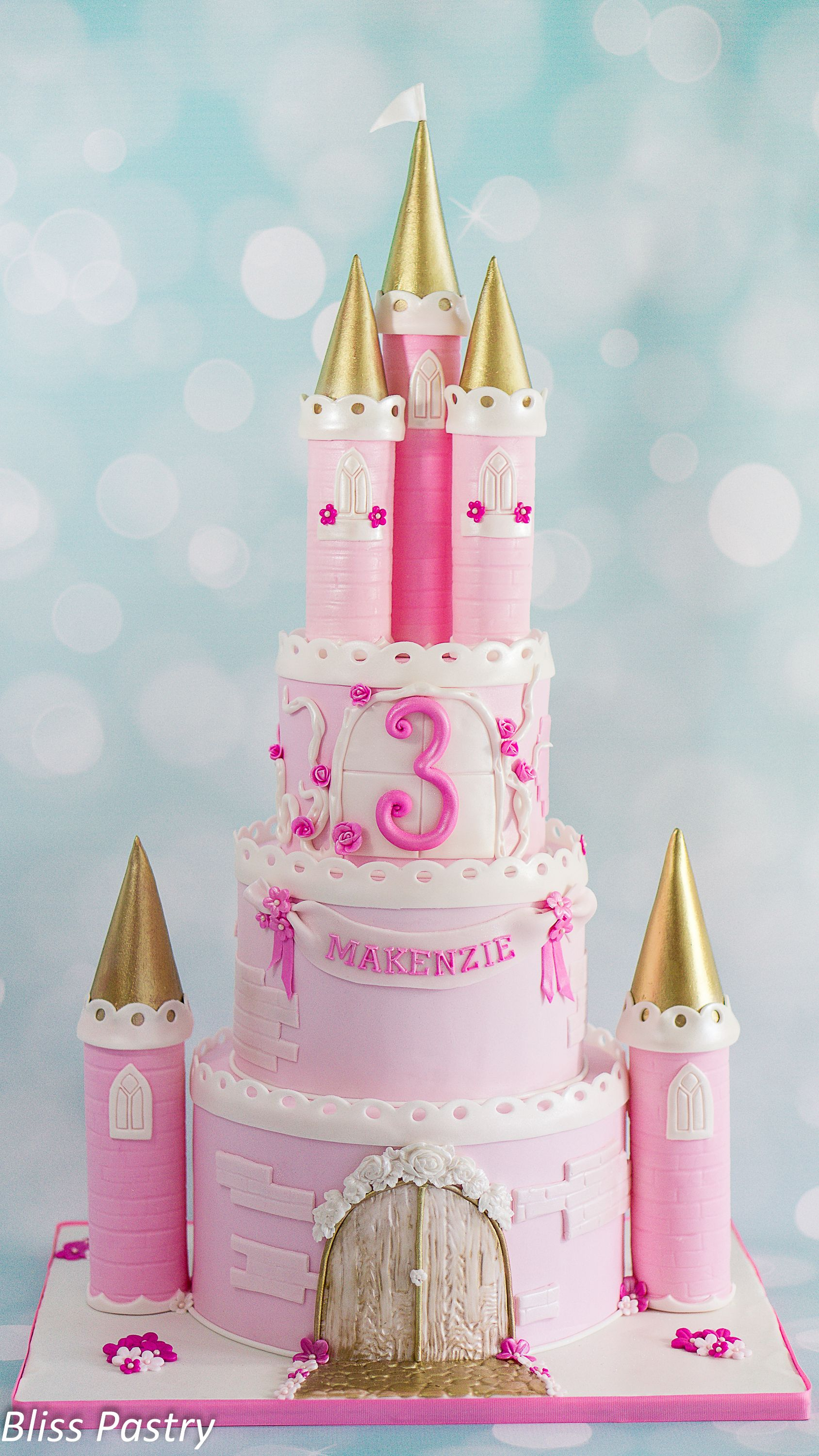 Pink And Gold Princess Castle Cake With Images Princess Castle