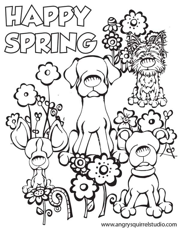 happy spring coloring pagesspring free download printable - Printable Spring Coloring Pages