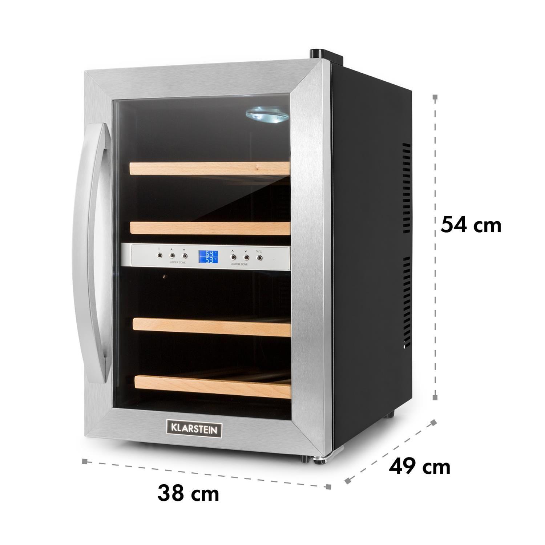 Chlodziarka Do Wina Firmy Klarstein 34 Litry 12 Butelek Dual Zone Wine Cooler Interior Lighting Glass Door