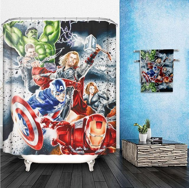 Marvel Shower Curtains Pattern Customized Shower Curtain Waterproof Bathroom Fabric 165x180cm Shower C Unique Shower Curtain Curtain Patterns Bathroom Curtains
