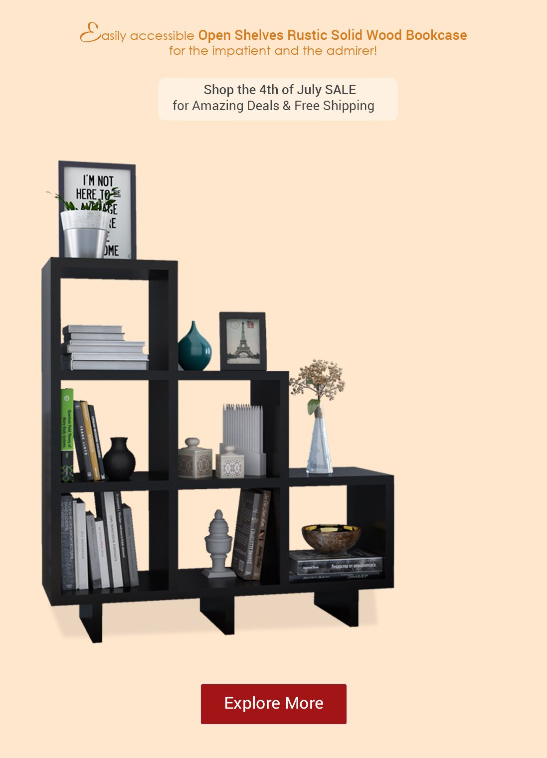 Easily Accessible Open Shelf Rustic Solid Wood Bookcase For The Impatient And The Admirer Shop The 4th Of Ju Wood Stairs Bookcase Inspiration Modern Bookcase