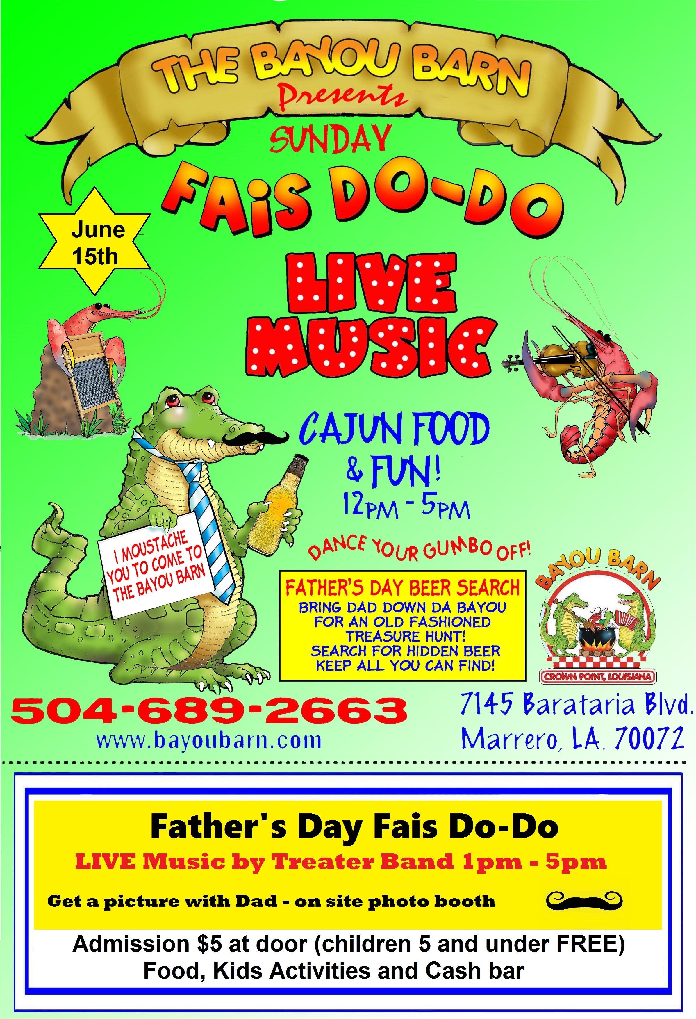 Bayou Barn Father's Day Fais Do-Do - Jefferson Parish Events Calendar | Jefferson, Louisiana