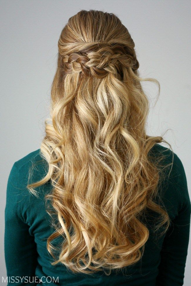 curly hair style http missysue 2015 12 braid embellished half updo 1130