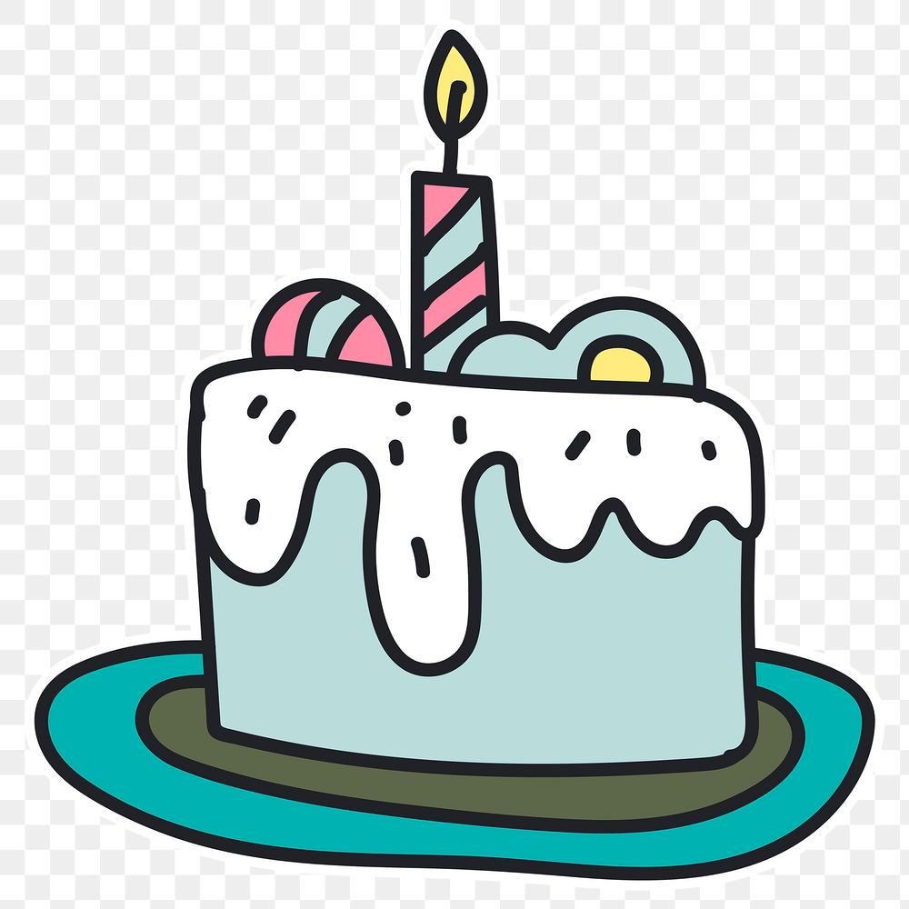 Hand Drawn Cake With A Candle Sticker Transparent Png Free Image By Rawpixel Com Te In 2021 Candle Stickers Transparent Stickers Animal Doodles